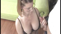 Horny mature tugging a young hard cock