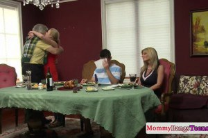 Step mommy and her teen fucked by the same stud