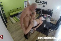 Horny blonde employee fucked by the boss for her job