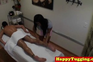 Busty asian wanking on a client