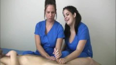 Two dirty nurses wanking a guy dry