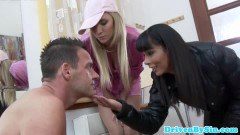Two babes humiliating a dude
