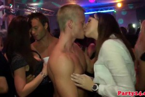A bunch of cock starving bachelorettes sucking dick in the club
