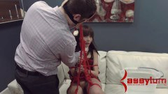 Petite Asian brunette abused by doctor