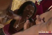 Fine ass ebony riding multiple cocks with her holes