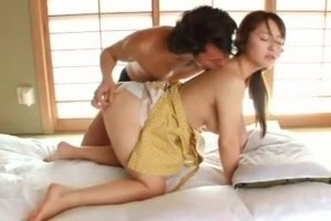 Obedient oriental wife in action