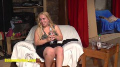 Chubby blonde chick doing a casting to earn a bit of extra money