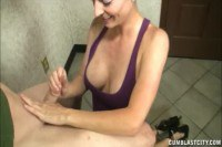 Sensual brunette MILF tugs a young hard cock