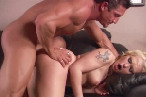 Delightful blonde Katja Kassin fucked in both holes