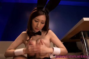 Delightful Japanese bunny gets cum on her tits