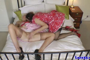 Two horny British matures in stockings sharing cock