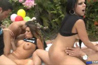 Three hot busty ladies fucked outdoors
