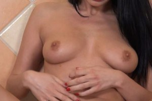Brunette wife takes tomatoes in her pussy
