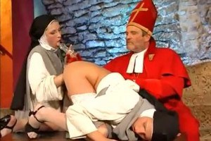 Two cosplay nuns fucked in their tight asses