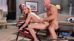 Divine blonde MILF Simone Sonay fucked by a bald guy