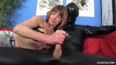 Topless mature beauty in handjob