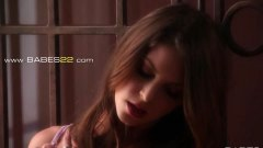 Erotic brunette touching herself on camera