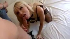 Blonde diva satisfies five dicks at the same time