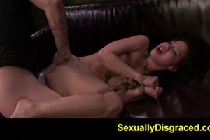 Caged slut takes dildo in the ass