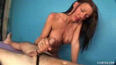 Busty mature masseuse wanking