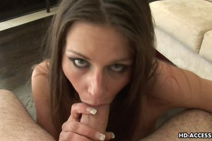 Busty young MILF chocking on cock