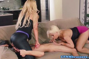 Two ravishing blondes sharing and dominating a dude's cock