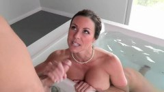 Busty brunette mom fucking along her daughter