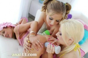 Three lovely teens in anal toying