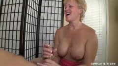 Dirty mature polishes cock for a huge cumshot