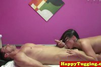 Curvy asian masseuse does a dude