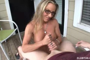 Gorgeous wife wanking on the terrace