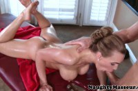 Busty masseuse gives head