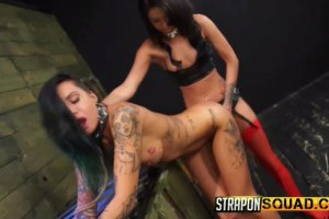 Inked brunette Alby Rydes fucked with a strapon