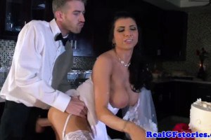 Gorgeous brunette bride in messy fuck!