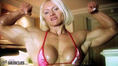 Hot all muscle chick teasing