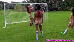 Three hot lesbians playing football naked