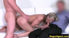 Blonde amateur fucked by two guys during threeway