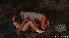 Busty teen and her boyfriend having a hot night in the park
