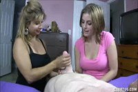 Sexy teen and mom wanking