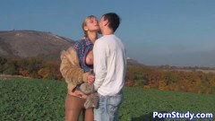 Sweet blonde fucked in the cucumber field