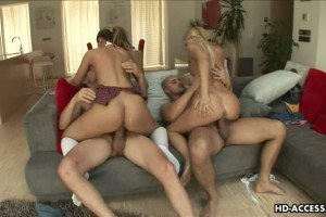 Two sweet blondes pumped side by side