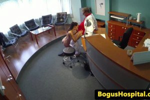 Horny doctor fucks the cleaning lady in the waitingroom.