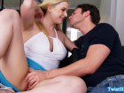 Busty blonde seducing guy into hard fuck