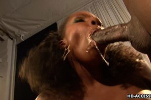 Black busty bitch rides and sucks huge cock like a slob
