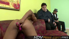 Gorgeous ebony toying by two guys