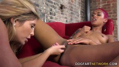 Skin Diamond and Tasha Reign having interracial lesbian sex