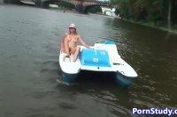 Hot Eurobabe riding the water-bike naked