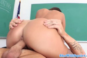 MILF teacher squirts and gets facialized
