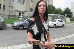Sexy tall brunette fucked in public
