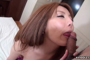 Cute asian lady sucking and riding on dong